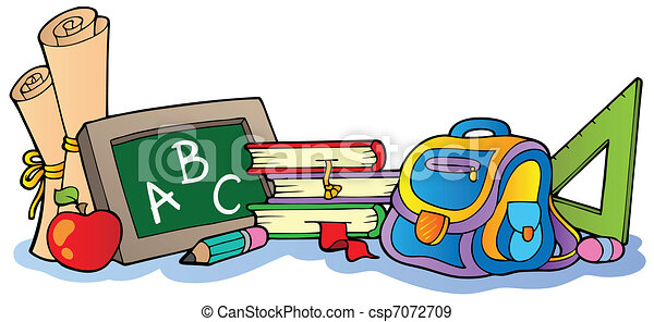Various school supplies 1 vector illustration eps vectors various school supplies 1 csp7072709 voltagebd Image collections
