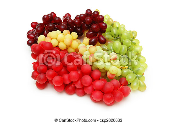 Various sorts of grapes isolated on white - csp2820633