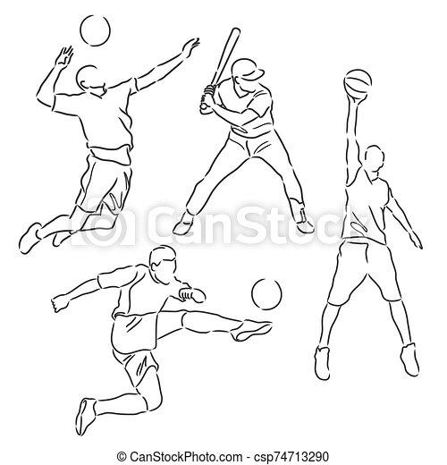 various sports athletes sketch vector - csp74713290