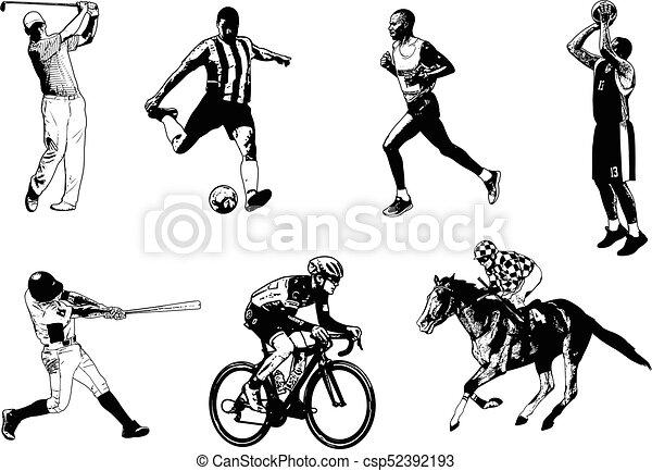 Various sports sketch illustration - csp52392193