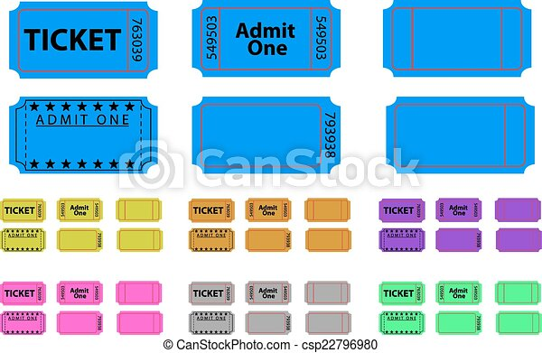 Various tickets set in different colours - csp22796980