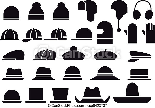 66d623cc70906 Various vector hats. Set of various hats and caps, vector icons.