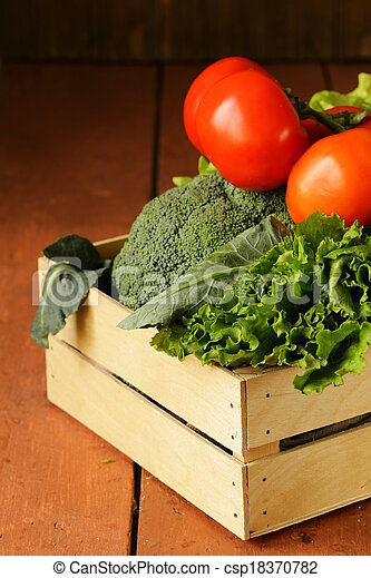 various vegetables in a wooden box - csp18370782