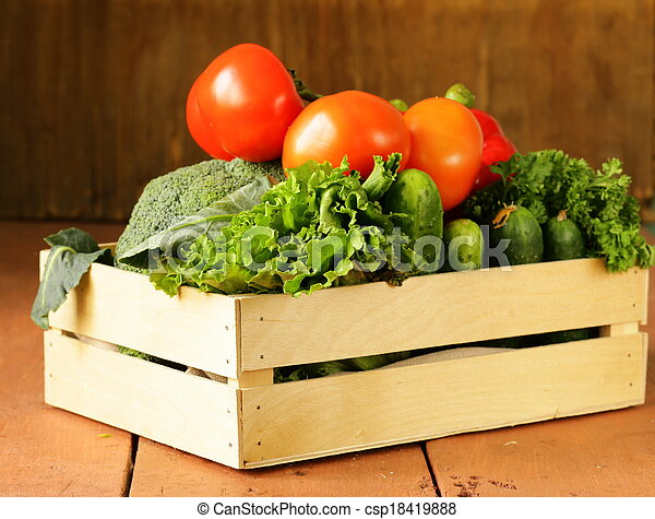 various vegetables in a wooden box  - csp18419888