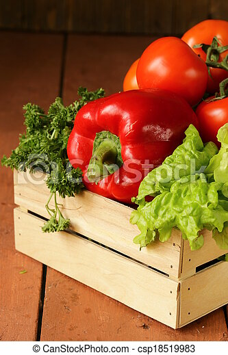 various vegetables in a wooden box  - csp18519983