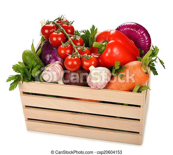 Various vegetables in a wooden box - csp20604153