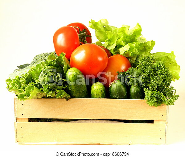 various vegetables in a wooden box  - csp18606734