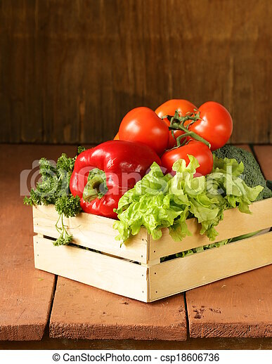various vegetables in a wooden box  - csp18606736