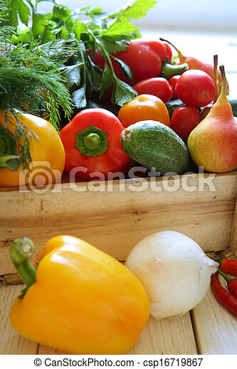 various vegetables in wooden crate - csp16719867