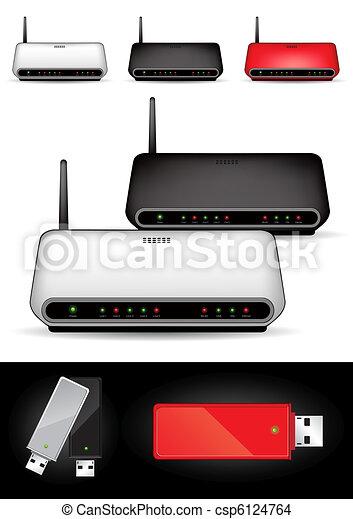 Various wireless modems - vector - csp6124764