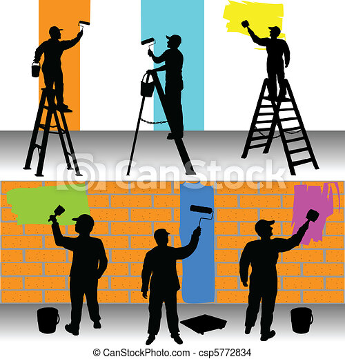 Various workers painters color - csp5772834