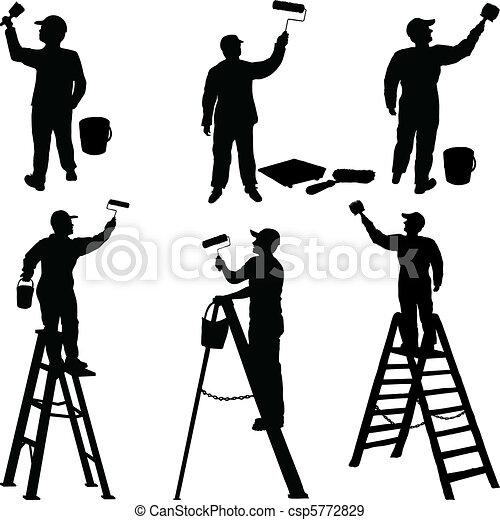 Various workers painters silhouette - csp5772829