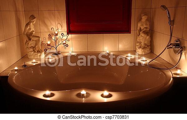 Vasca Bagno Romantico Romantico Candele Dettaglio Luminoso Piccolo Vasca Bagno Canstock