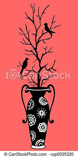 Vase and birds - csp9335320