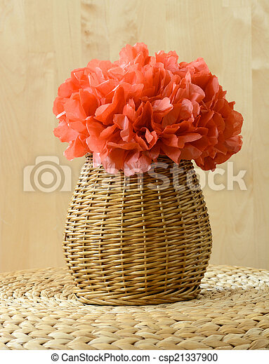 Vase basket with red tissue paper flower on woven surface with wood vase basket with red tissue paper flower on woven surface with wood background csp21337900 mightylinksfo