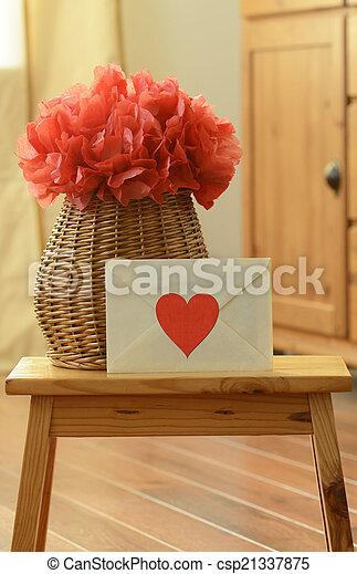 Vase basket with red tissue paper flower pom pom and picture vase basket with red tissue paper flower pom pom and envelope with red heart mightylinksfo