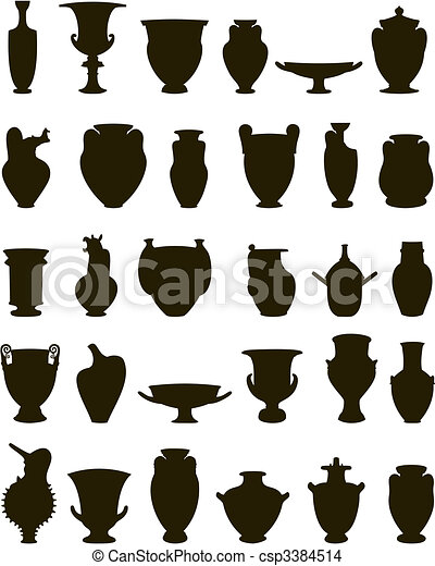 Vase Set Of Silhouettes Of Vases A Vector Illustration