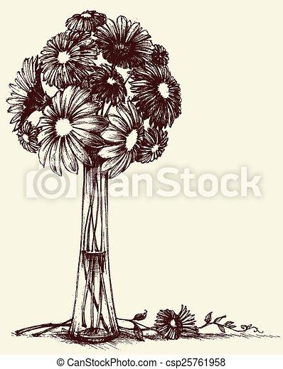 Vase of flowers, wedding bouquet sketch retro style - csp25761958