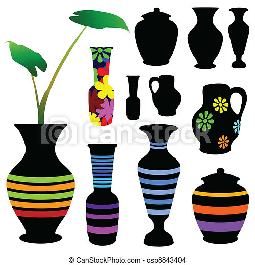 Vase Vector Illustration In Black Color And Silhouette