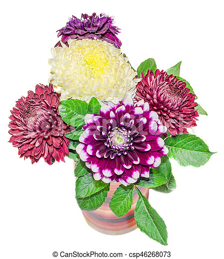 Vase With Chrysanthemum And Dhalia Purple And Yellow Flowers