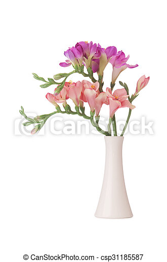 Vase With Orchid Flower Isolated On White
