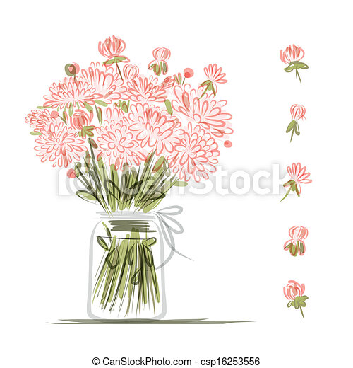 Vase With Pink Flowers Sketch For Your Design