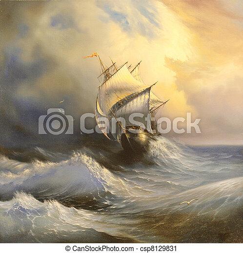 Un velero antiguo en el mar tormentoso - csp8129831