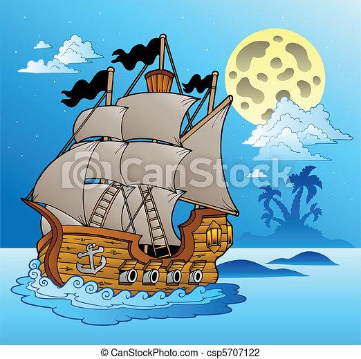vasija, vista marina, viejo, noche - csp5707122