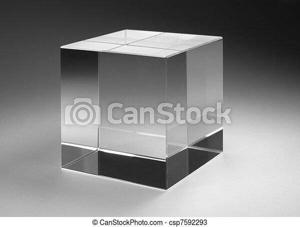 vast lichaam, glas, kubus - csp7592293