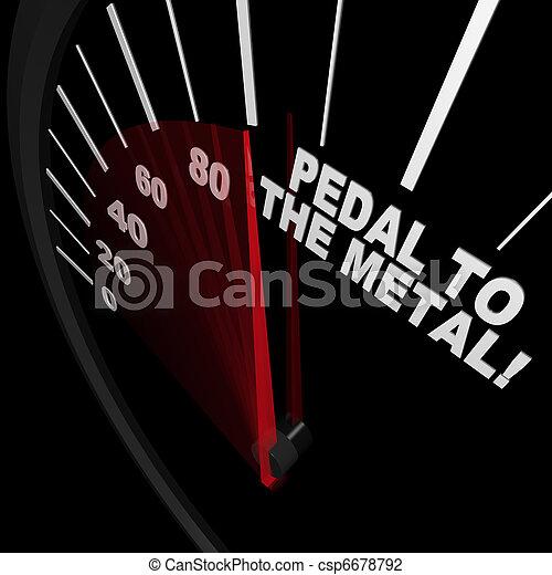 vaster, metaal, -, bereiken, pedaal, snelheidsmeter, doel - csp6678792