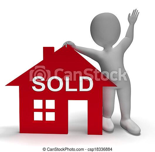 vastgoed, aanbod, succesvolle , woning, sold, middelen - csp18336884