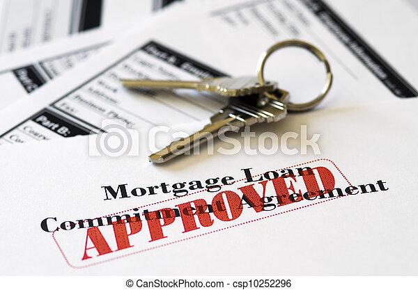 vastgoed, verhypothekeer lening, document, goedgekeurd - csp10252296