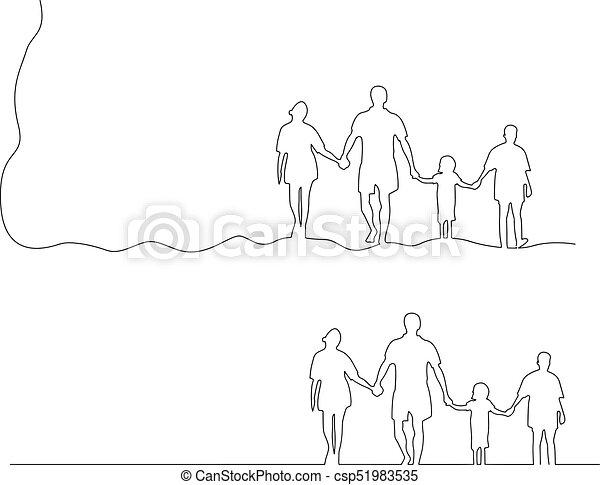 vasthouden, gezin, vrijstaand, illustratie, lijnen, vector, black , samen, achtergrond, handen, witte  - csp51983535