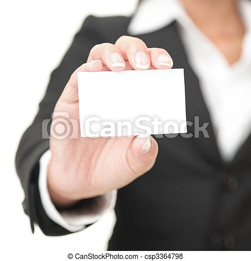 vasthouden, meldingsbord, zakelijk, businesswoman, kaart, -, leeg - csp3364798
