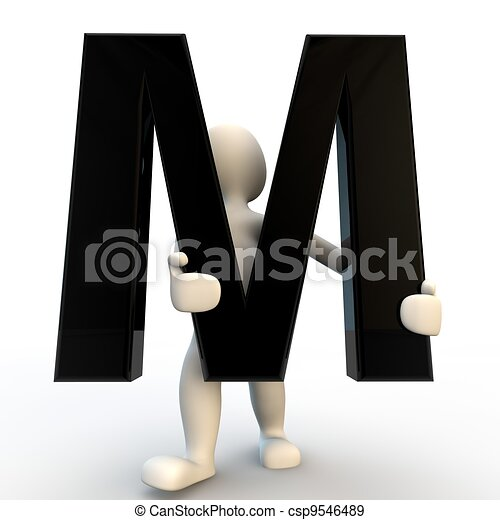vasthouden, mensen, m, karakter, kleine, black , menselijk, brief, 3d - csp9546489