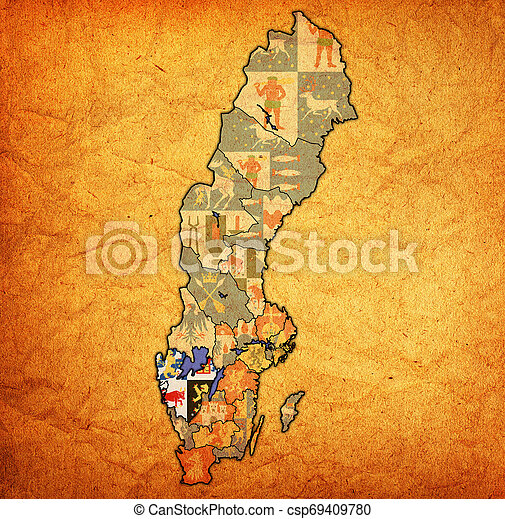 Vastra Gotaland On Map Of Swedish Counties Flag Of Vastra Gotaland County On Map Of Administrative Divisions Of Sweden