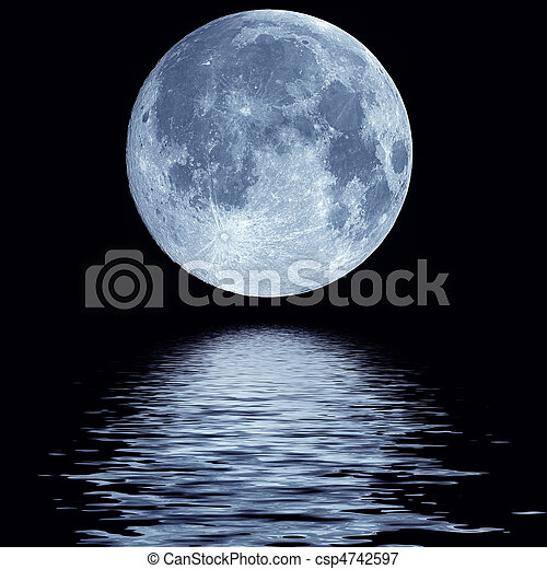 vatten, över, fullmåne - csp4742597