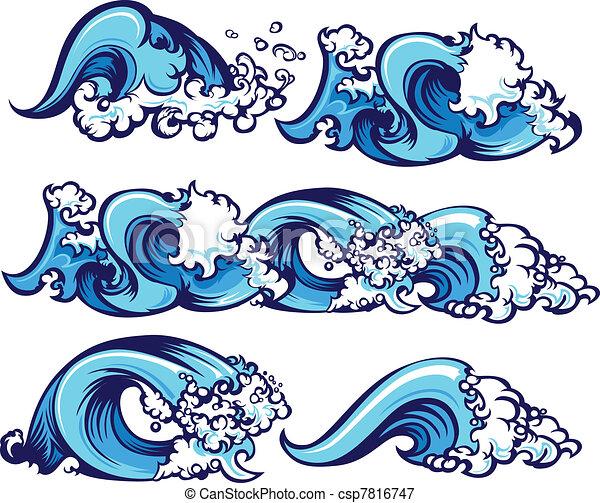 vatten, brakande, illustration, vågor - csp7816747