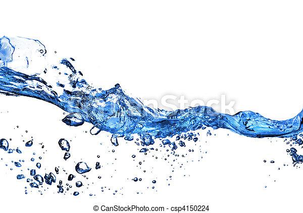 vatten, bubblar, plaska, isolerat, vit - csp4150224