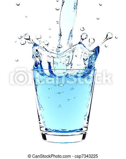 vatten glas, plaska - csp7343225