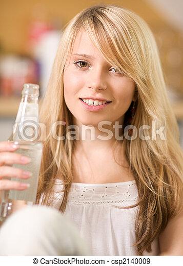 vatten, tonårig, söt, flicka, flaska - csp2140009