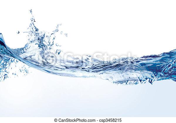 vatten, vit, plaska, isolerat - csp3458215
