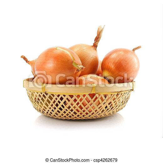 Frutas vegetales de cebolla en vaze aisladas - csp4262679