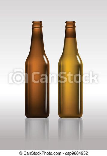 vazio, marrom, garrafas, cheio, cerveja - csp9684952