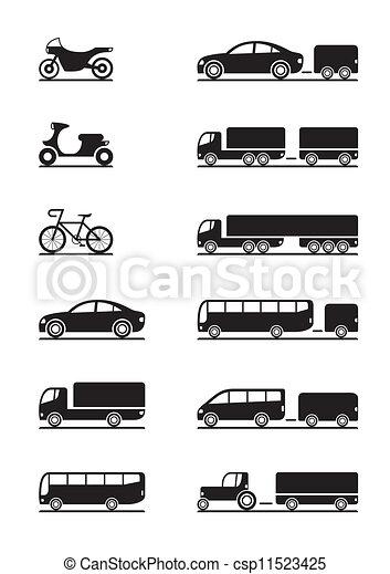 veículos, estrada, ícones - csp11523425