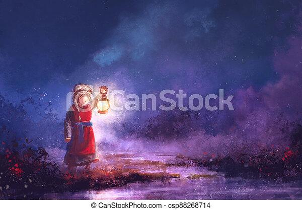 večer, malba, maličký, wetlands, děvče, lucerna - csp88268714