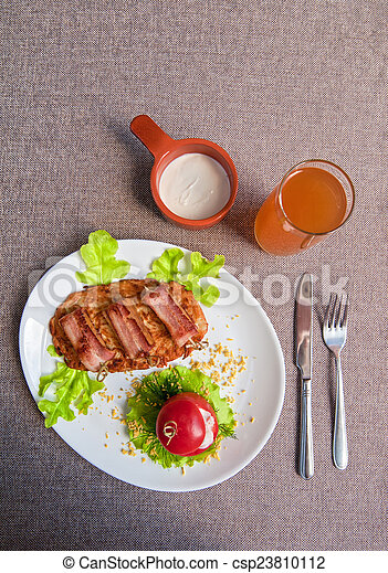 veal meat with bacon - csp23810112