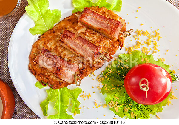 veal meat with bacon - csp23810115
