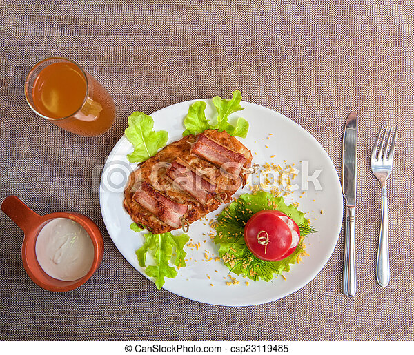 veal meat with bacon - csp23119485