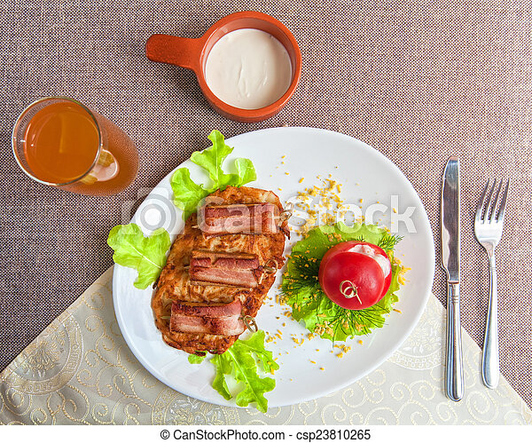 veal meat with bacon - csp23810265